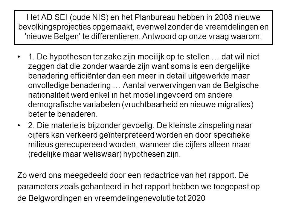 Het AD SEI (oude NIS) en het Planbureau hebben in 2008 nieuwe bevolkingsprojecties opgemaakt, evenwel zonder de vreemdelingen en 'nieuwe Belgen' te di