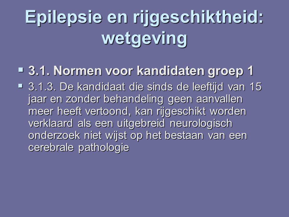 Epilepsie en rijgeschiktheid: wetgeving  3.1. Normen voor kandidaten groep 1  3.1.3. De kandidaat die sinds de leeftijd van 15 jaar en zonder behand