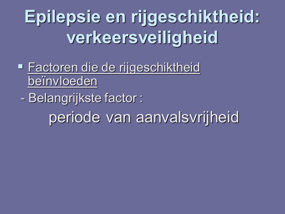 Epilepsie en rijgeschiktheid: verkeersveiligheid  Factoren die de rijgeschiktheid beïnvloeden - Belangrijkste factor : - Belangrijkste factor : perio