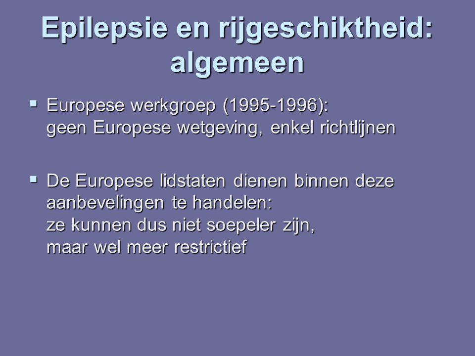 Epilepsie en rijgeschiktheid: verkeersveiligheid - Slechts 1/250 hospitalisaties door verkeersongevallen heeft een medische oorzaak - Slechts 1/250 hospitalisaties door verkeersongevallen heeft een medische oorzaak - 37% hiervan zou te wijten zijn aan epilepsie - 37% hiervan zou te wijten zijn aan epilepsie - Ongevallen gerelateerd aan epilepsie maken slechts 0.25% van de ongevallen uit - Ongevallen gerelateerd aan epilepsie maken slechts 0.25% van de ongevallen uit - Slechts 11% van de ongevallen bij epilepsiepatiënten wordt veroorzaakt door een aanval - Slechts 11% van de ongevallen bij epilepsiepatiënten wordt veroorzaakt door een aanval