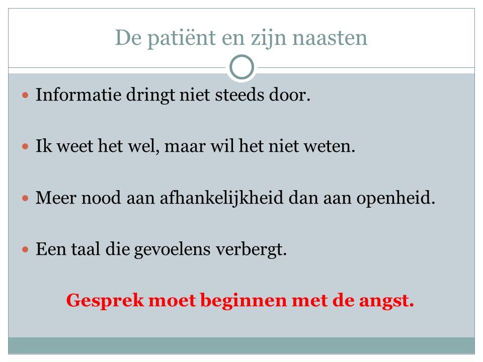 De patiënt en zijn naasten  Informatie dringt niet steeds door.  Ik weet het wel, maar wil het niet weten.  Meer nood aan afhankelijkheid dan aan o