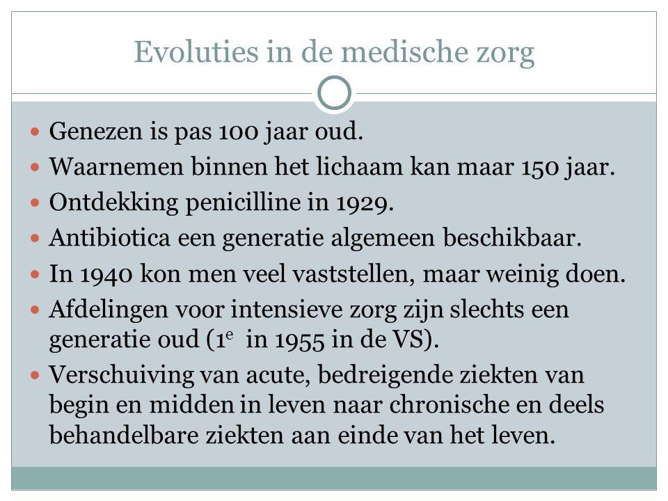 Evoluties in de medische zorg  Genezen is pas 100 jaar oud.  Waarnemen binnen het lichaam kan maar 150 jaar.  Ontdekking penicilline in 1929.  Ant
