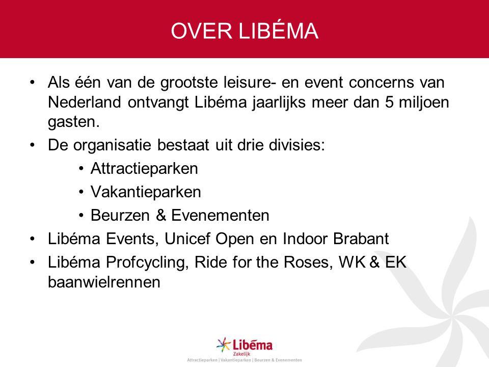 OVER LIBÉMA •Als één van de grootste leisure- en event concerns van Nederland ontvangt Libéma jaarlijks meer dan 5 miljoen gasten. •De organisatie bes