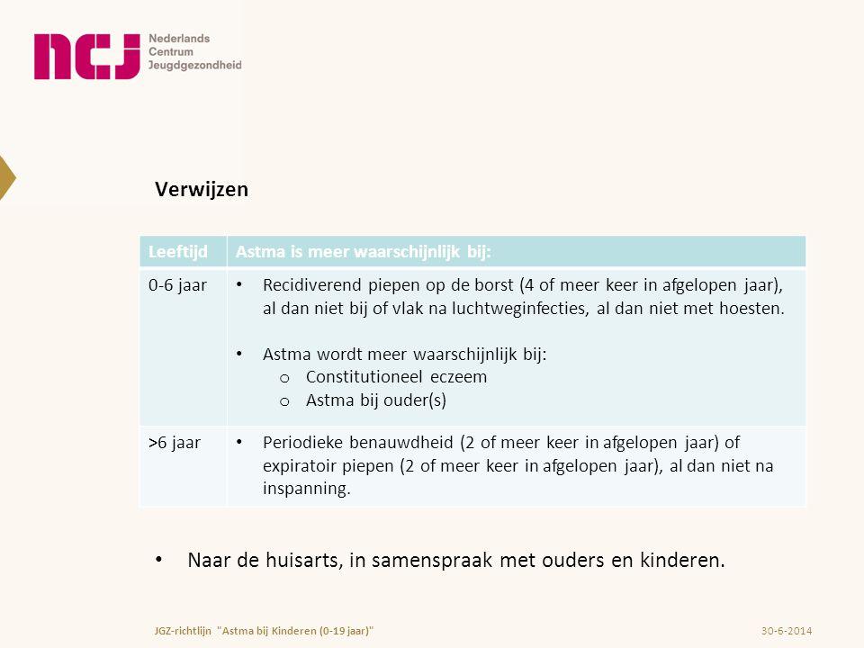 Verwijzen • Naar de huisarts, in samenspraak met ouders en kinderen. 30-6-2014JGZ-richtlijn