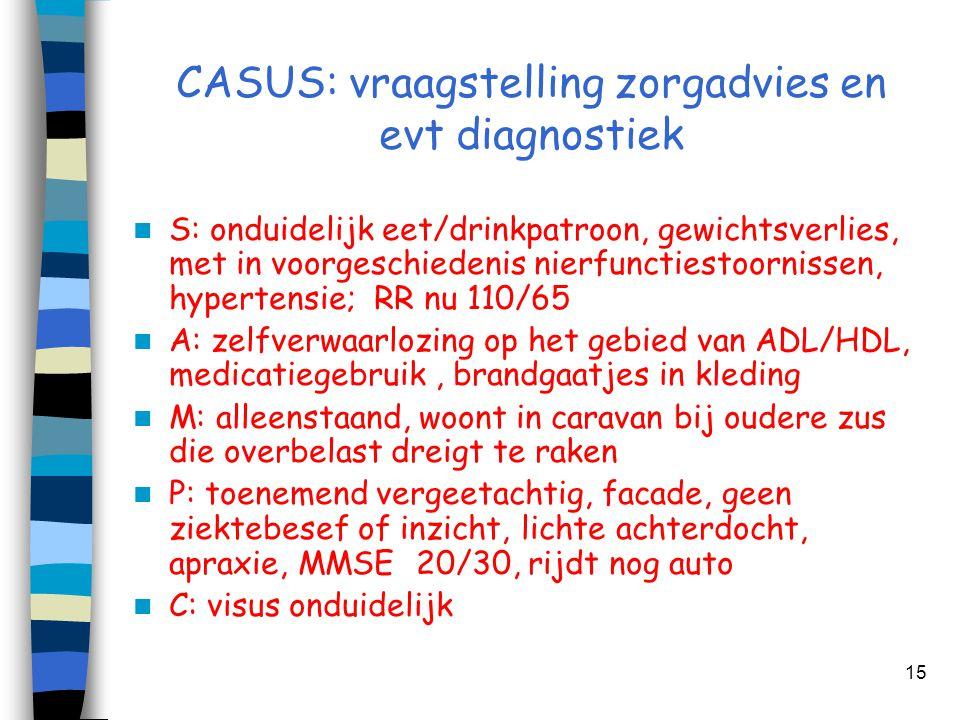 CASUS: vraagstelling zorgadvies en evt diagnostiek  S: onduidelijk eet/drinkpatroon, gewichtsverlies, met in voorgeschiedenis nierfunctiestoornissen,