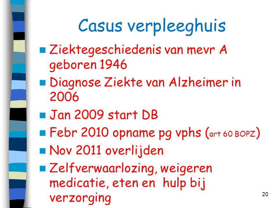 Casus verpleeghuis  Ziektegeschiedenis van mevr A geboren 1946  Diagnose Ziekte van Alzheimer in 2006  Jan 2009 start DB  Febr 2010 opname pg vphs