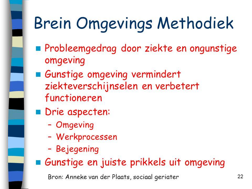 Brein Omgevings Methodiek  Probleemgedrag door ziekte en ongunstige omgeving  Gunstige omgeving vermindert ziekteverschijnselen en verbetert functio