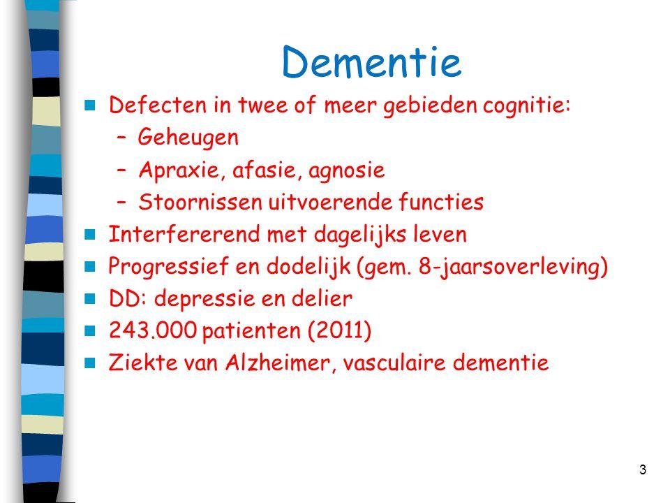 Dementie  Defecten in twee of meer gebieden cognitie: –Geheugen –Apraxie, afasie, agnosie –Stoornissen uitvoerende functies  Interfererend met dagel