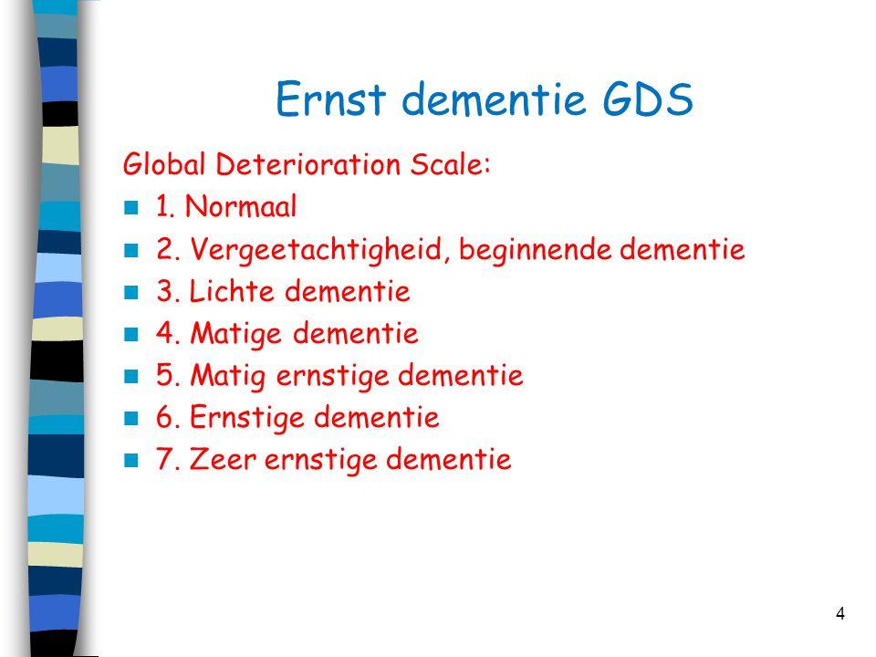 Ernst dementie GDS Global Deterioration Scale:  1. Normaal  2. Vergeetachtigheid, beginnende dementie  3. Lichte dementie  4. Matige dementie  5.