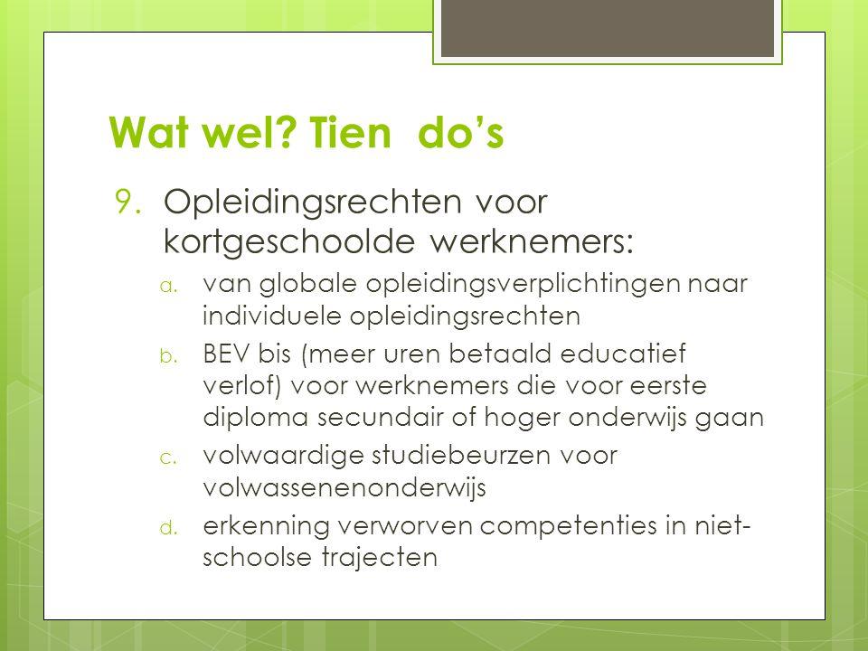Wat wel. Tien do's 9.Opleidingsrechten voor kortgeschoolde werknemers: a.