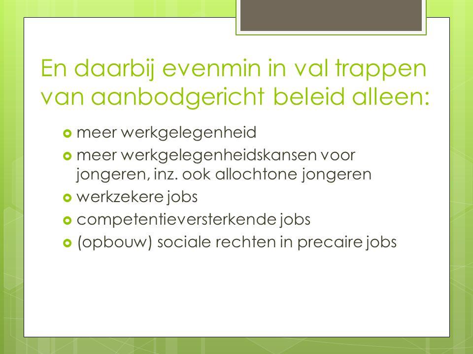 En daarbij evenmin in val trappen van aanbodgericht beleid alleen:  meer werkgelegenheid  meer werkgelegenheidskansen voor jongeren, inz.