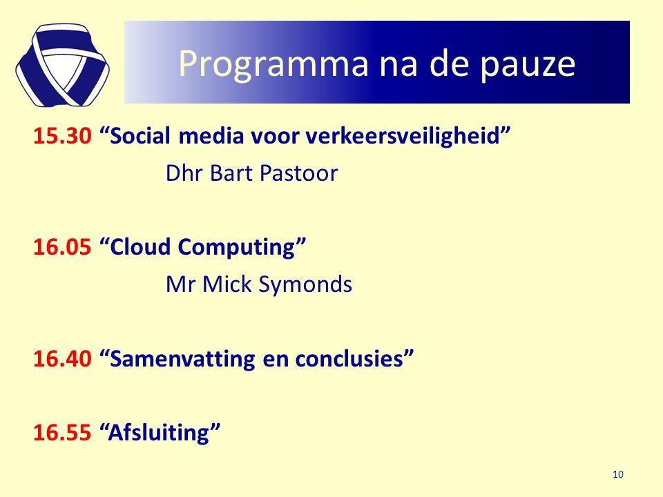 """Programma na de pauze 15.30 """"Social media voor verkeersveiligheid"""" Dhr Bart Pastoor 16.05""""Cloud Computing"""" Mr Mick Symonds 16.40""""Samenvatting en concl"""