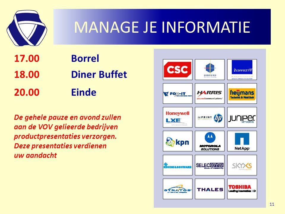 MANAGE JE INFORMATIE 17.00Borrel 18.00Diner Buffet 20.00Einde De gehele pauze en avond zullen aan de VOV gelieerde bedrijven productpresentaties verzorgen.
