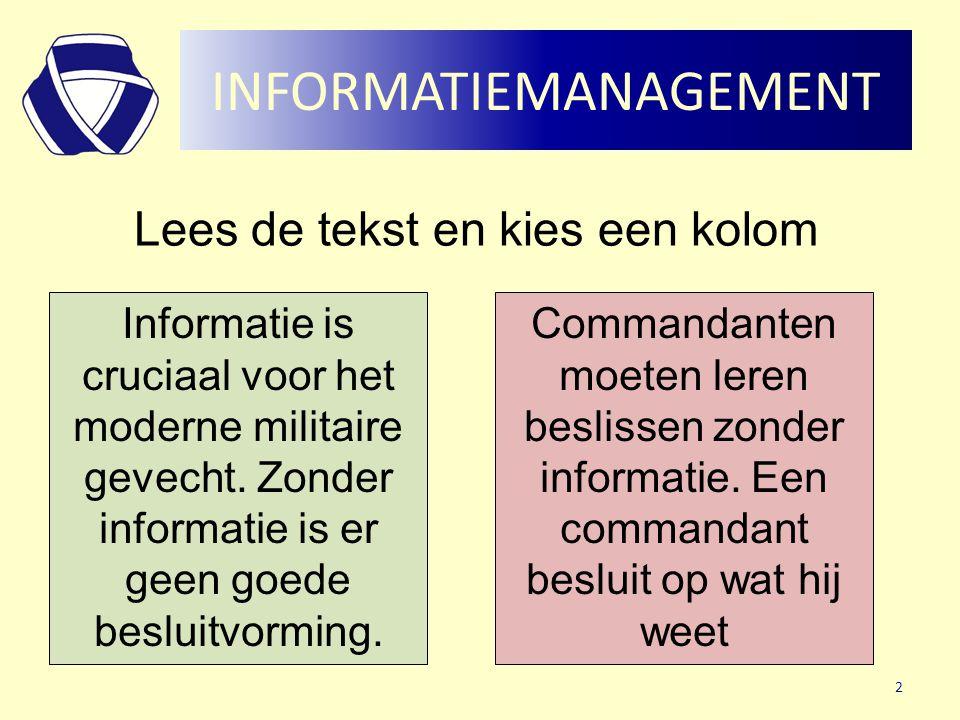 INFORMATIEMANAGEMENT Lees de tekst en kies een kolom Informatie is cruciaal voor het moderne militaire gevecht. Zonder informatie is er geen goede bes
