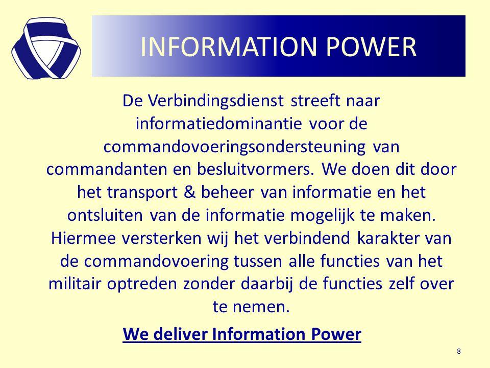INFORMATION POWER De Verbindingsdienst streeft naar informatiedominantie voor de commandovoeringsondersteuning van commandanten en besluitvormers. We