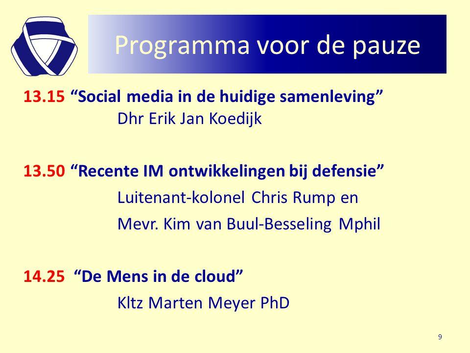 Programma voor de pauze 13.15 Social media in de huidige samenleving Dhr Erik Jan Koedijk 13.50 Recente IM ontwikkelingen bij defensie Luitenant-kolonel Chris Rump en Mevr.