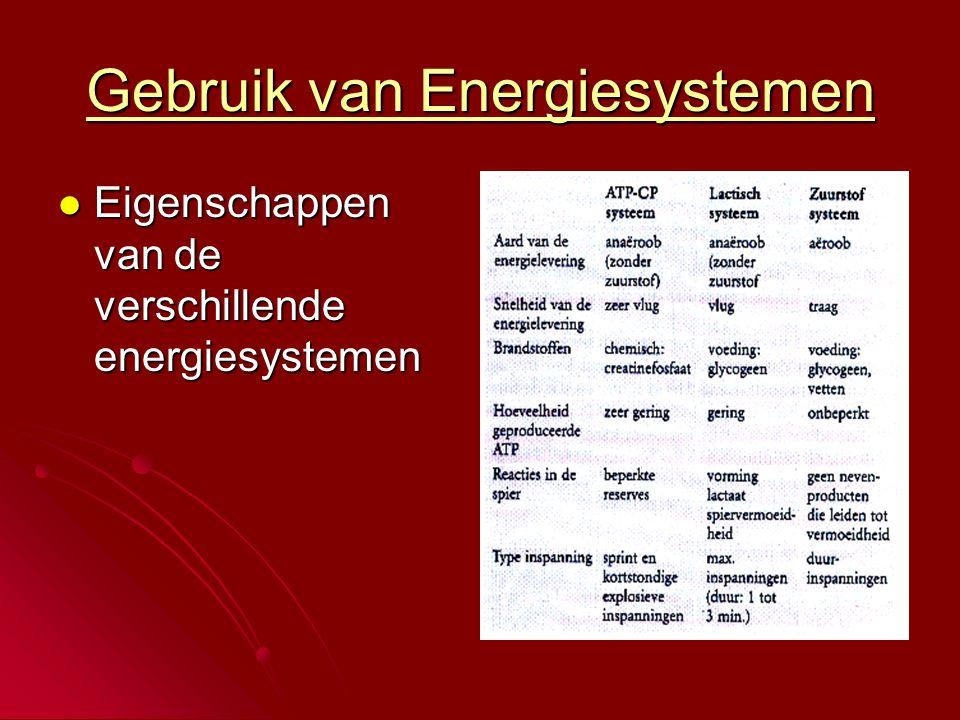 Gebruik van Energiesystemen  Eigenschappen van de verschillende energiesystemen