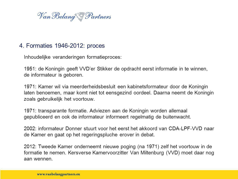 4. Formaties 1946-2012: proces Inhoudelijke veranderingen formatieproces: 1951: de Koningin geeft VVD'er Stikker de opdracht eerst informatie in te wi
