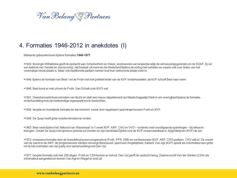 4. Formaties 1946-2012 in anekdotes (I) Markante gebeurtenissen tijdens formaties 1945-1977: • 1945: Koningin Wilhelmina geeft de opdracht aan Schemer