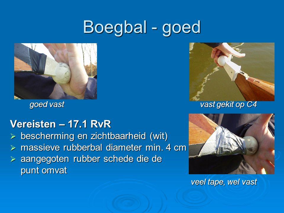 Boegbal - goed goed vast vast gekit op C4 goed vast vast gekit op C4 Vereisten – 17.1 RvR  bescherming en zichtbaarheid (wit)  massieve rubberbal diameter min.