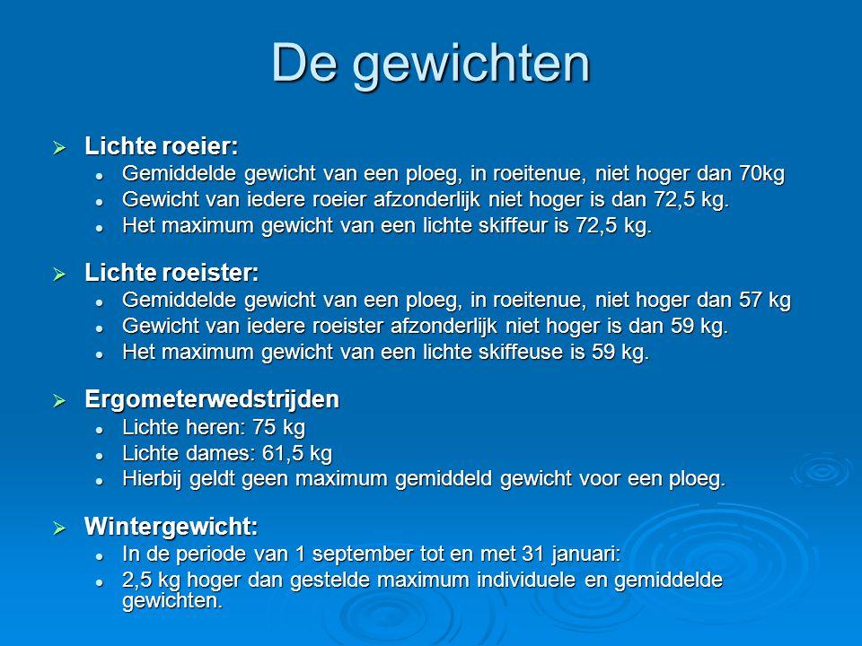 De gewichten  Lichte roeier:  Gemiddelde gewicht van een ploeg, in roeitenue, niet hoger dan 70kg  Gewicht van iedere roeier afzonderlijk niet hoger is dan 72,5 kg.