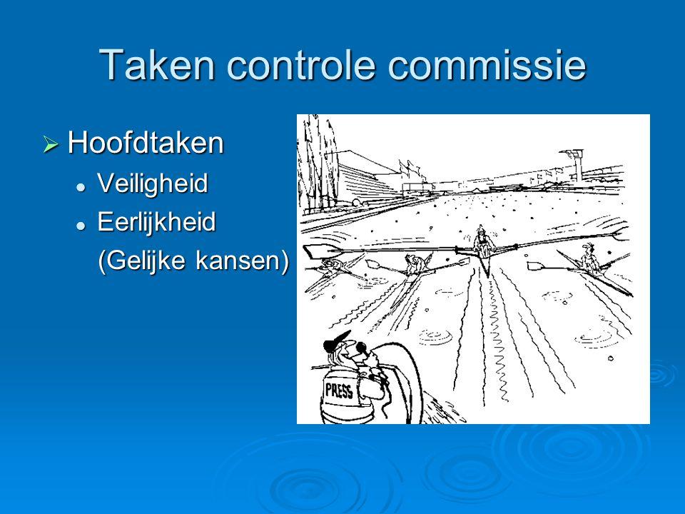 De taken volgens RvR  RvR 73.1 Onder verantwoordelijkheid van het hoofd van de controlecommissie controleert de controlecommissie of het materieel en de roeiers aan de reglementen voldoen.