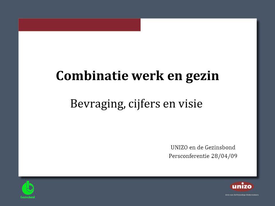 Combinatie werk en gezin Bevraging, cijfers en visie UNIZO en de Gezinsbond Persconferentie 28/04/09