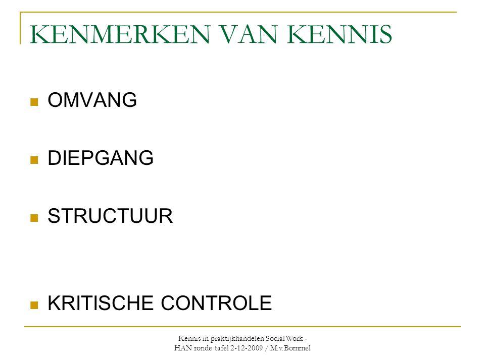 Kennis in praktijkhandelen Social Work - HAN ronde tafel 2-12-2009 / M.v.Bommel KENMERKEN VAN KENNIS  OMVANG  DIEPGANG  STRUCTUUR  KRITISCHE CONTROLE