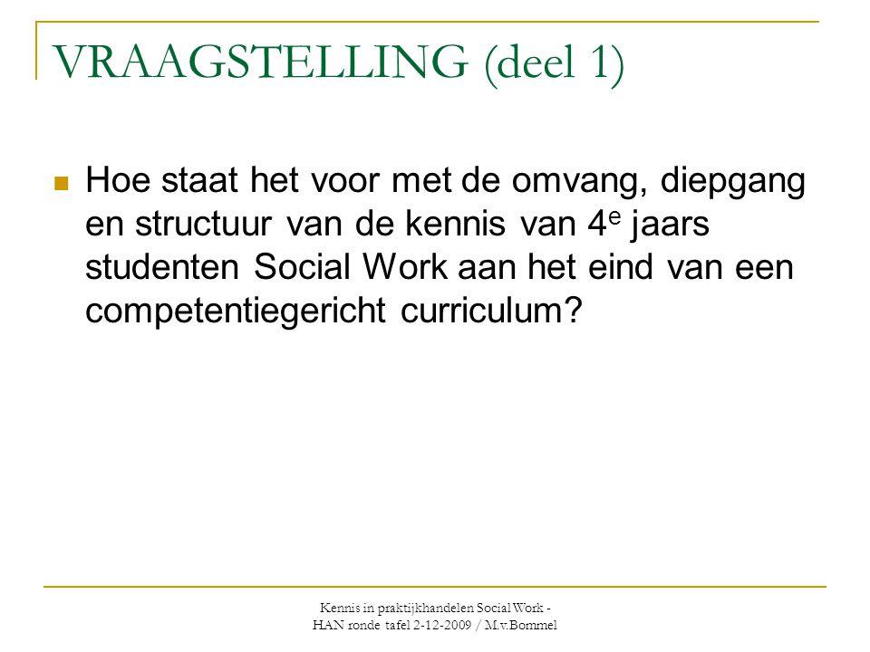 Kennis in praktijkhandelen Social Work - HAN ronde tafel 2-12-2009 / M.v.Bommel VRAAGSTELLING (deel 1)  Hoe staat het voor met de omvang, diepgang en structuur van de kennis van 4 e jaars studenten Social Work aan het eind van een competentiegericht curriculum?