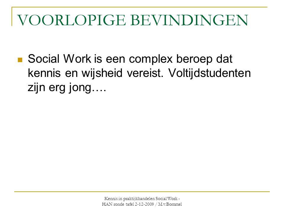 Kennis in praktijkhandelen Social Work - HAN ronde tafel 2-12-2009 / M.v.Bommel VOORLOPIGE BEVINDINGEN  Social Work is een complex beroep dat kennis en wijsheid vereist.