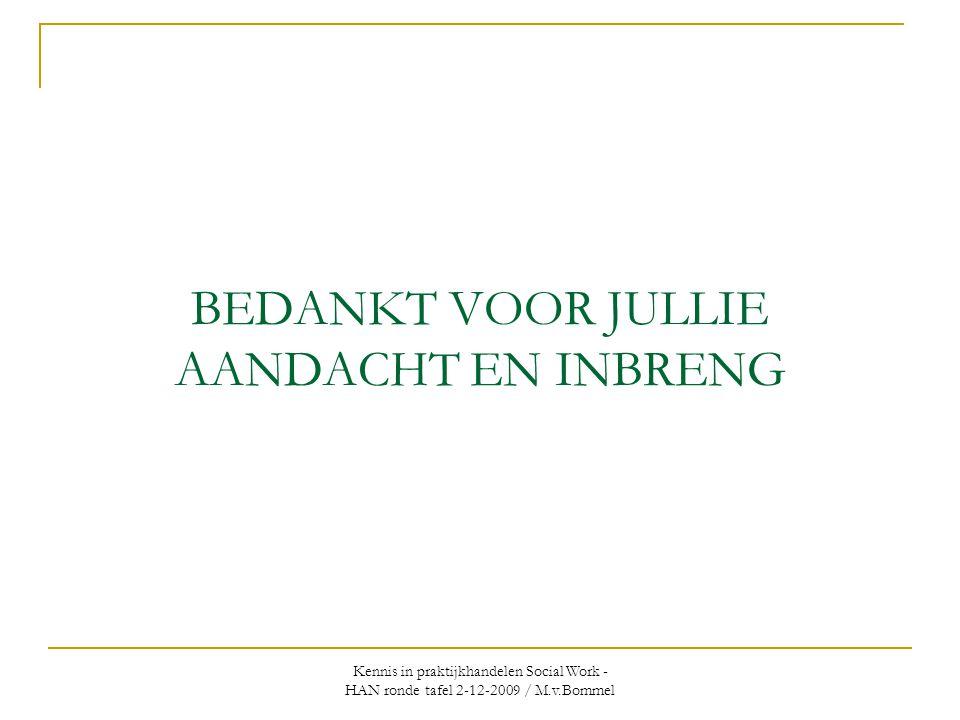 Kennis in praktijkhandelen Social Work - HAN ronde tafel 2-12-2009 / M.v.Bommel BEDANKT VOOR JULLIE AANDACHT EN INBRENG