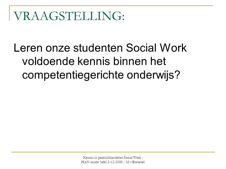 Kennis in praktijkhandelen Social Work - HAN ronde tafel 2-12-2009 / M.v.Bommel VRAAGSTELLING: Leren onze studenten Social Work voldoende kennis binnen het competentiegerichte onderwijs?