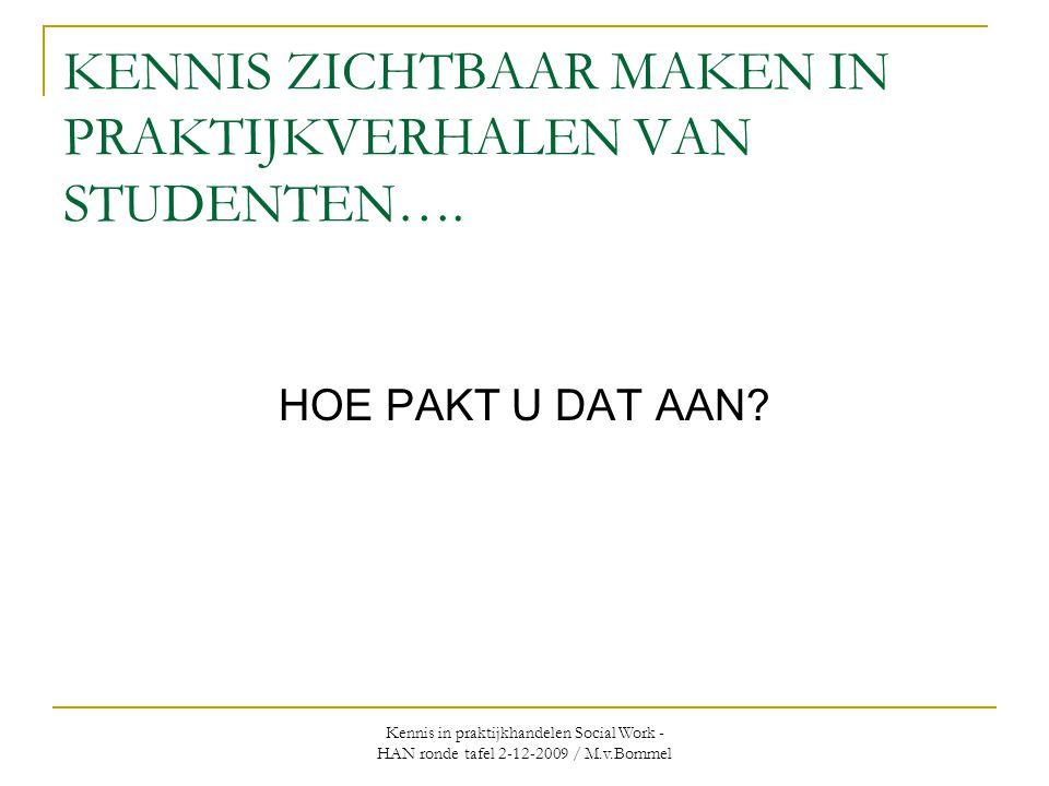 Kennis in praktijkhandelen Social Work - HAN ronde tafel 2-12-2009 / M.v.Bommel KENNIS ZICHTBAAR MAKEN IN PRAKTIJKVERHALEN VAN STUDENTEN…. HOE PAKT U