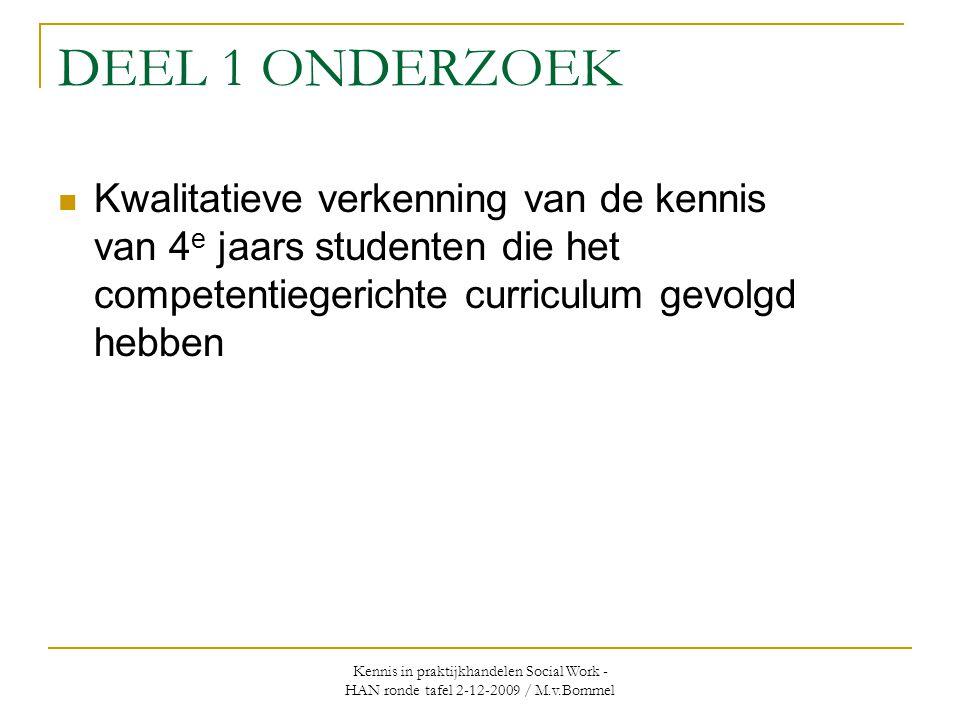 Kennis in praktijkhandelen Social Work - HAN ronde tafel 2-12-2009 / M.v.Bommel DEEL 1 ONDERZOEK  Kwalitatieve verkenning van de kennis van 4 e jaars studenten die het competentiegerichte curriculum gevolgd hebben