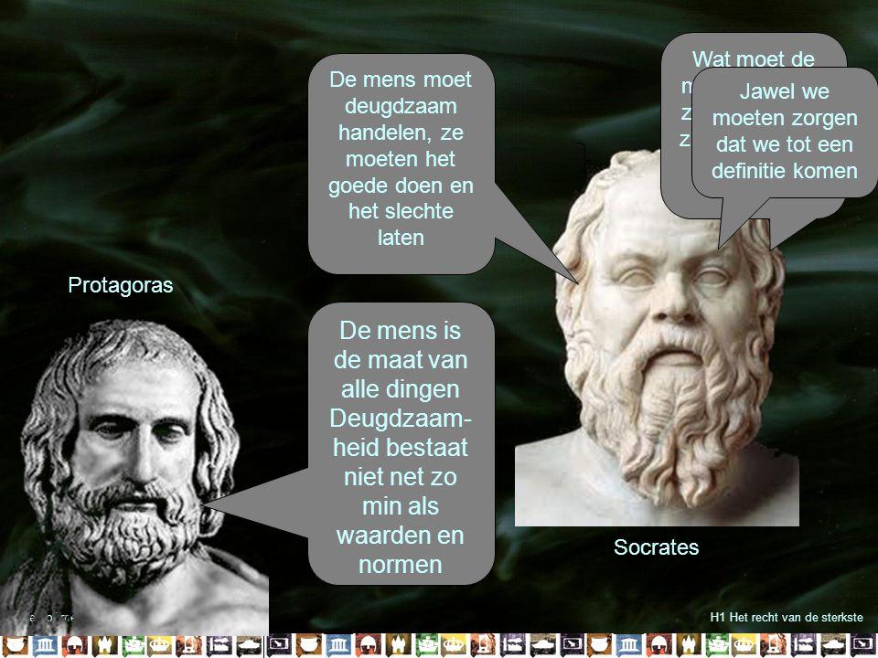 Alleen of met z'n allen?H1 Het recht van de sterkste Socrates Wat moet de mens doen om zelf gelukkig te zijn en anderen gelukkig te maken? De mens moe