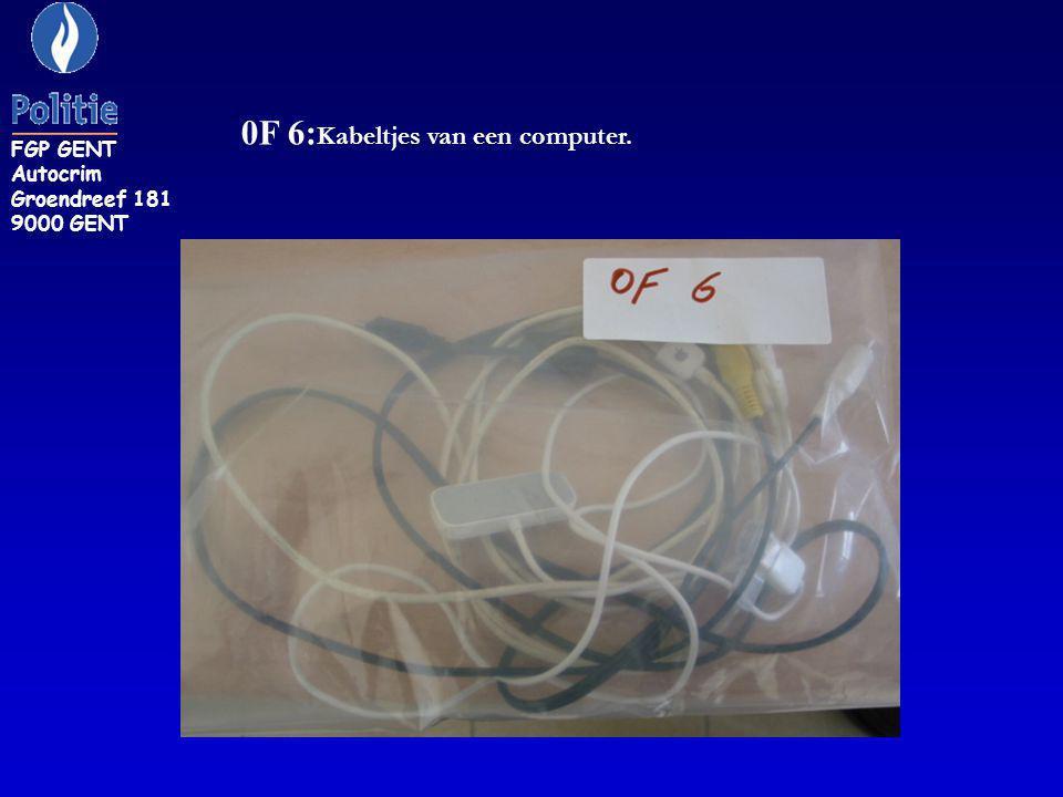 0F 6: Kabeltjes van een computer. FGP GENT Autocrim Groendreef 181 9000 GENT