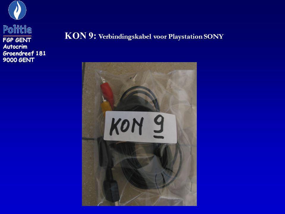 KON 9: Verbindingskabel voor Playstation SONY FGP GENT Autocrim Groendreef 181 9000 GENT
