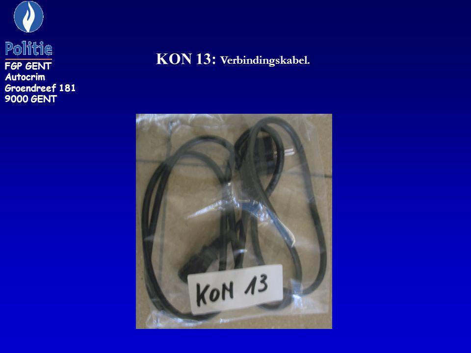 KON 13: Verbindingskabel. FGP GENT Autocrim Groendreef 181 9000 GENT