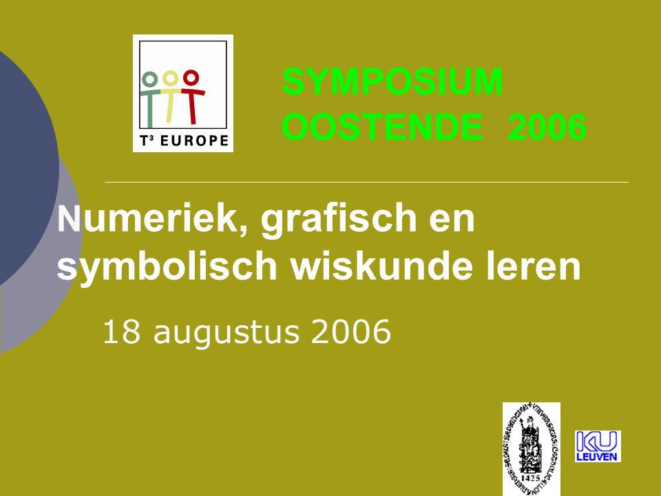 SYMPOSIUM OOSTENDE 2006 N umeriek, grafisch en symbolisch wiskunde leren 18 augustus 2006
