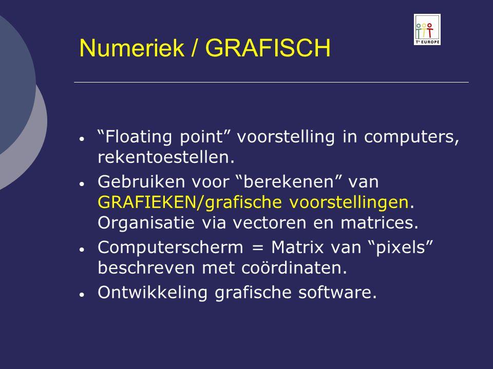 """Numeriek / GRAFISCH  """"Floating point"""" voorstelling in computers, rekentoestellen.  Gebruiken voor """"berekenen"""" van GRAFIEKEN/grafische voorstellingen"""