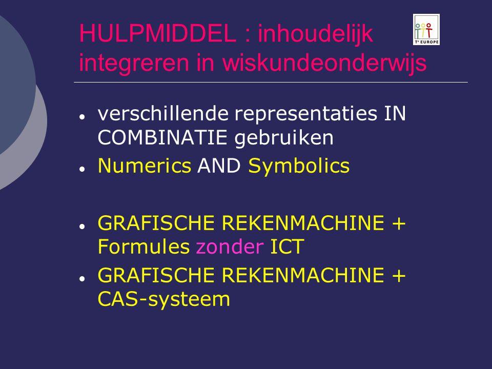 HULPMIDDEL : inhoudelijk integreren in wiskundeonderwijs  verschillende representaties IN COMBINATIE gebruiken  Numerics AND Symbolics  GRAFISCHE R