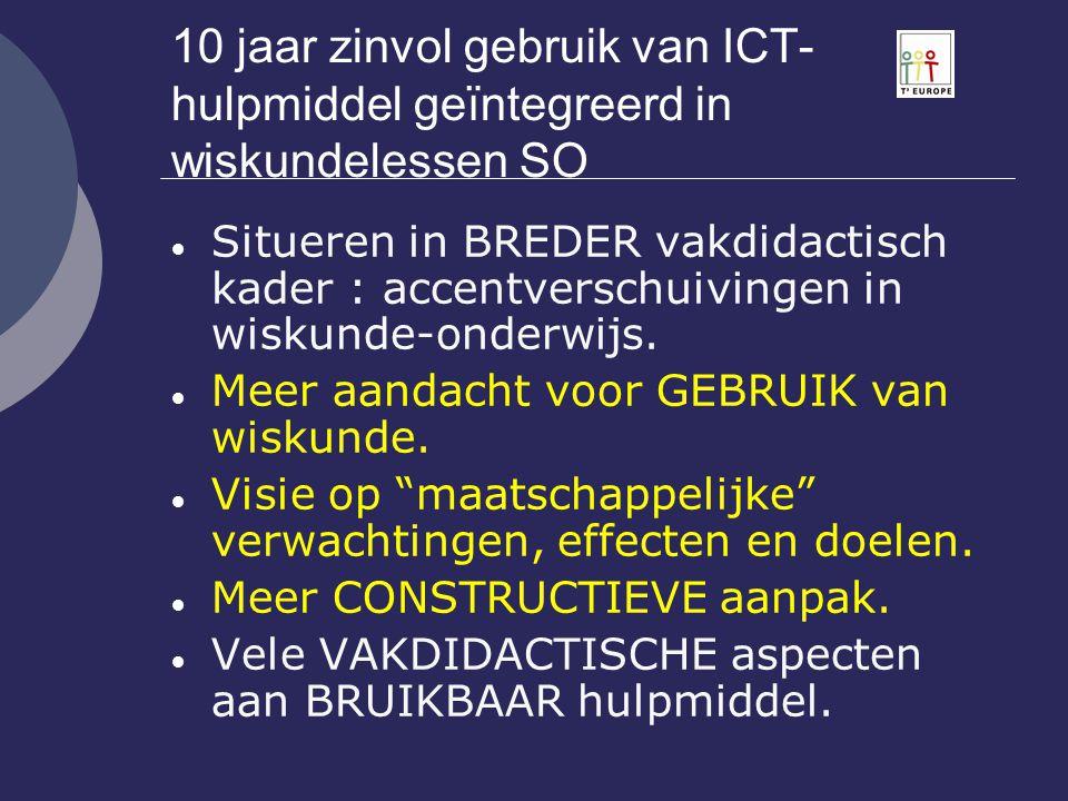 ICT : didactisch gebruik Gematigd inschakelen van hand-held ICT systeem kan wiskunde-onderwijs verrijken en ondersteunen.