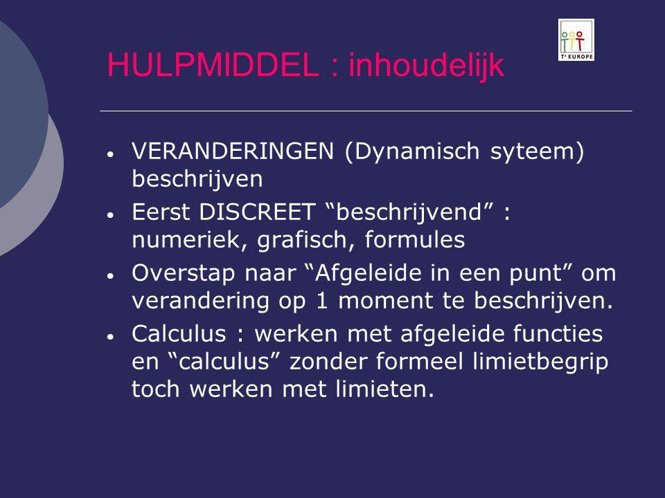 """HULPMIDDEL : inhoudelijk  VERANDERINGEN (Dynamisch syteem) beschrijven  Eerst DISCREET """"beschrijvend"""" : numeriek, grafisch, formules  Overstap naar"""
