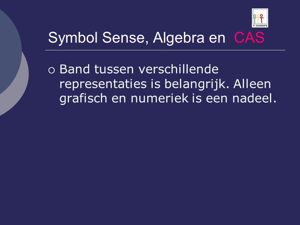 Symbol Sense, Algebra en CAS  Band tussen verschillende representaties is belangrijk. Alleen grafisch en numeriek is een nadeel.