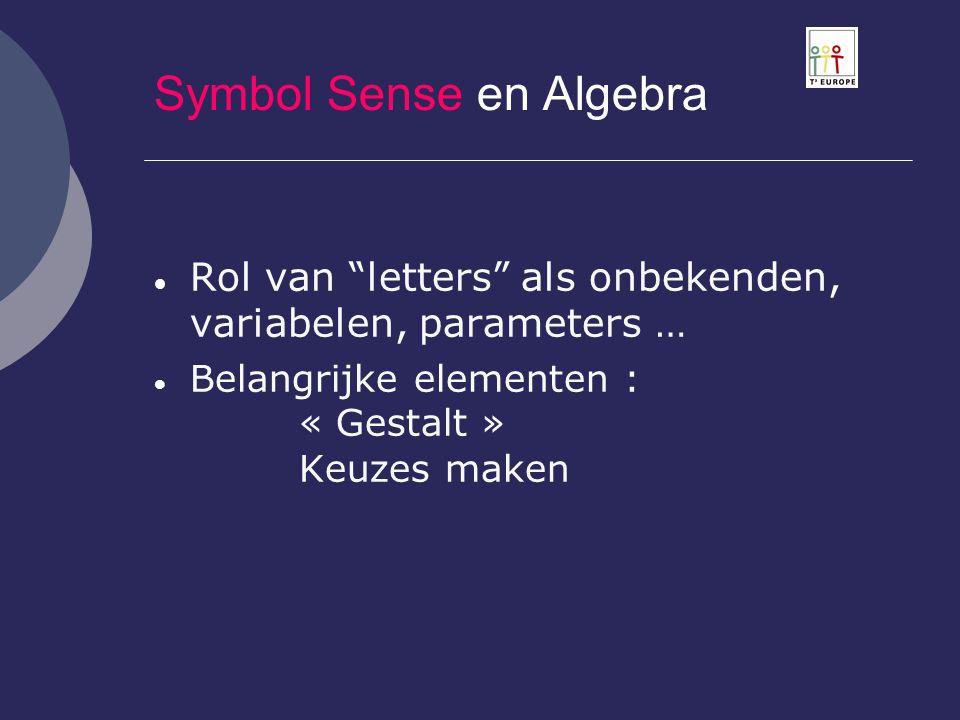 """Symbol Sense en Algebra  Rol van """"letters"""" als onbekenden, variabelen, parameters …  Belangrijke elementen : « Gestalt » Keuzes maken"""