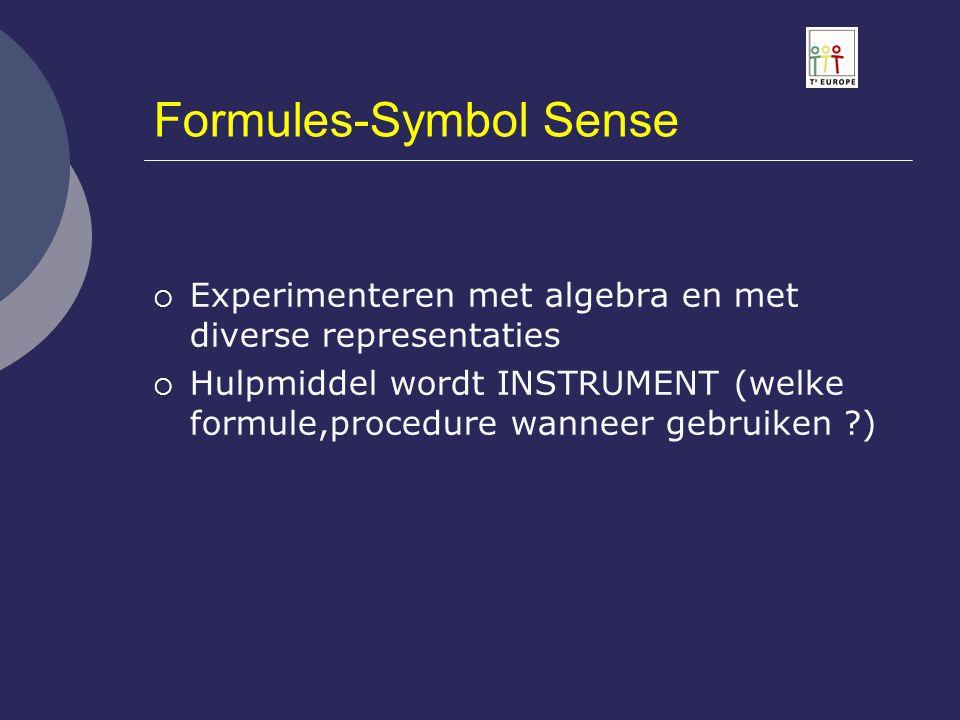 Formules-Symbol Sense  Experimenteren met algebra en met diverse representaties  Hulpmiddel wordt INSTRUMENT (welke formule,procedure wanneer gebrui