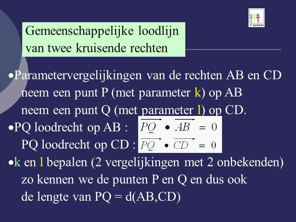 Gemeenschappelijke loodlijn van twee kruisende rechten  Parametervergelijkingen van de rechten AB en CD neem een punt P (met parameter k) op AB neem