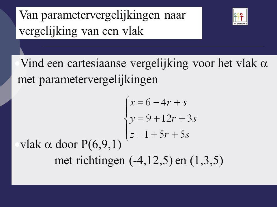 Van parametervergelijkingen naar vergelijking van een vlak  Vind een cartesiaanse vergelijking voor het vlak  met parametervergelijkingen  vlak  d