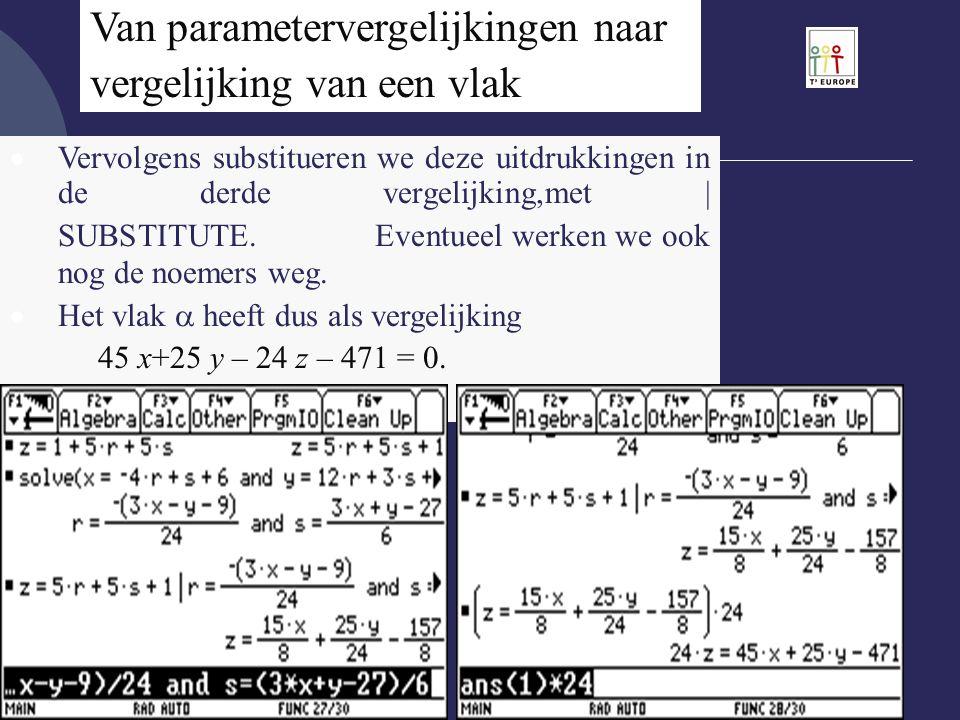 Van parametervergelijkingen naar vergelijking van een vlak  Vervolgens substitueren we deze uitdrukkingen in de derde vergelijking,met | SUBSTITUTE.