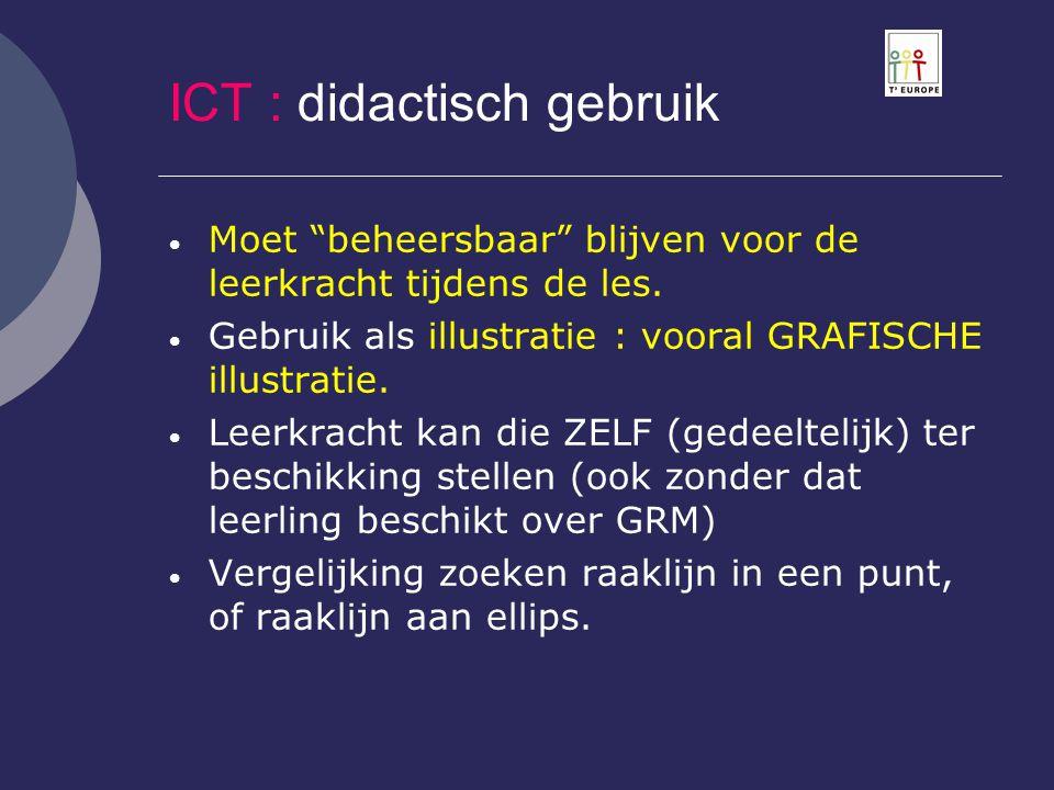 """ICT : didactisch gebruik  Moet """"beheersbaar"""" blijven voor de leerkracht tijdens de les.  Gebruik als illustratie : vooral GRAFISCHE illustratie.  L"""